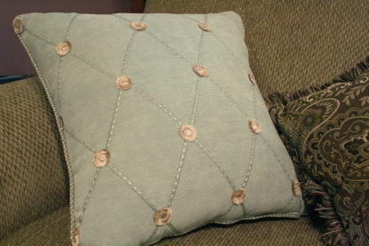 Ottoman Recover - Finished Seafoam Pillow