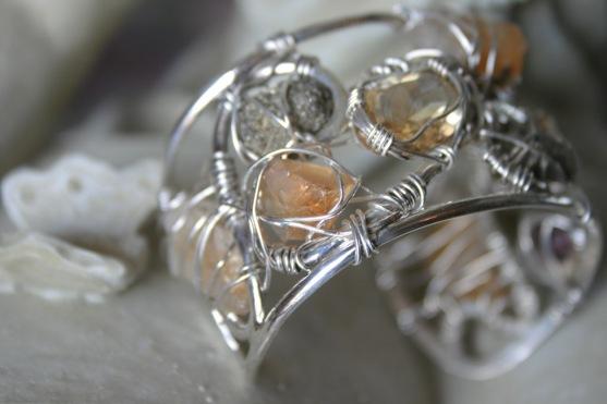 Citrine, Pyrite and Garnet ARGENTIUM® Bracelet