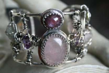 Star Garnet and Rose Quartz ARGENTIUM® Bracelet