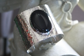 Hammered Onyx Cuff Bracelet