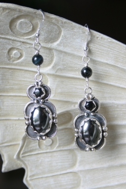 Hematite, Onyx & Blue Tiger Eye Earrings