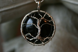 Black Onyx Tree of Life Necklace - Detail
