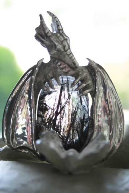 Black Tourmalinated Quartz Dragon Pendant