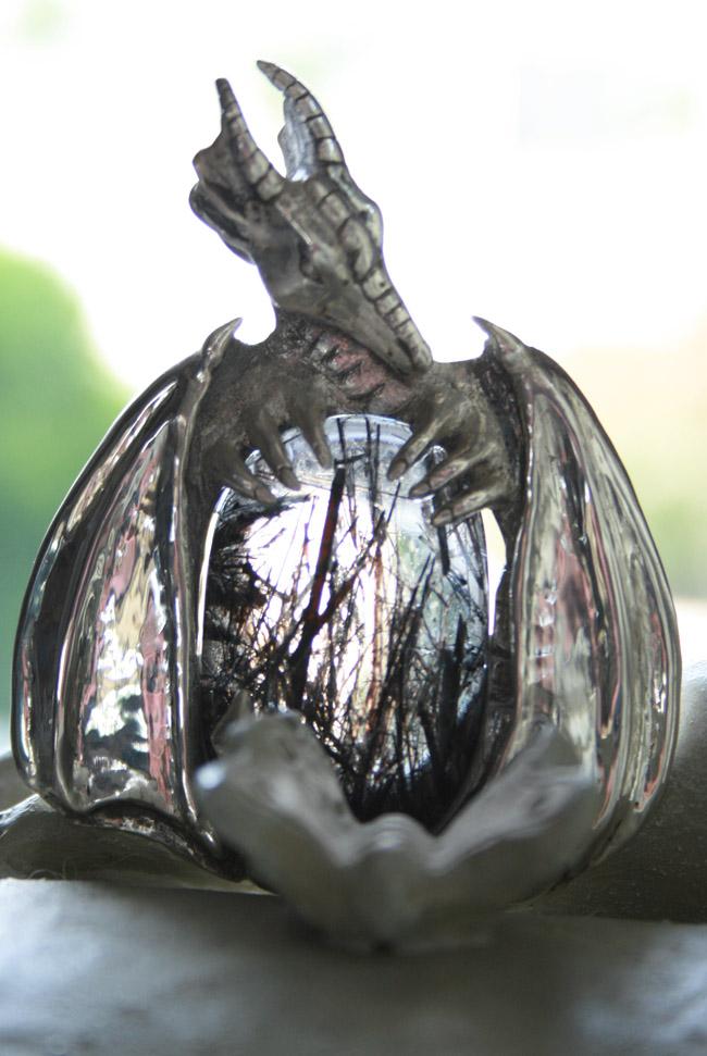 Black Tourmalinated Quartz Dragon Pendant