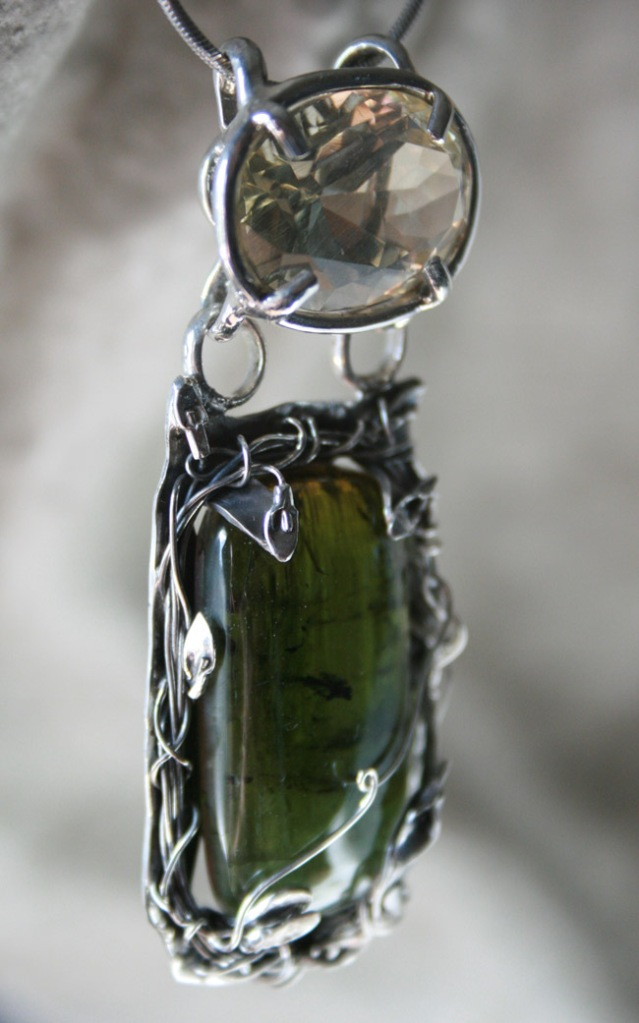 Green Tourmaline and Bytownite Sterling Silver Pendant
