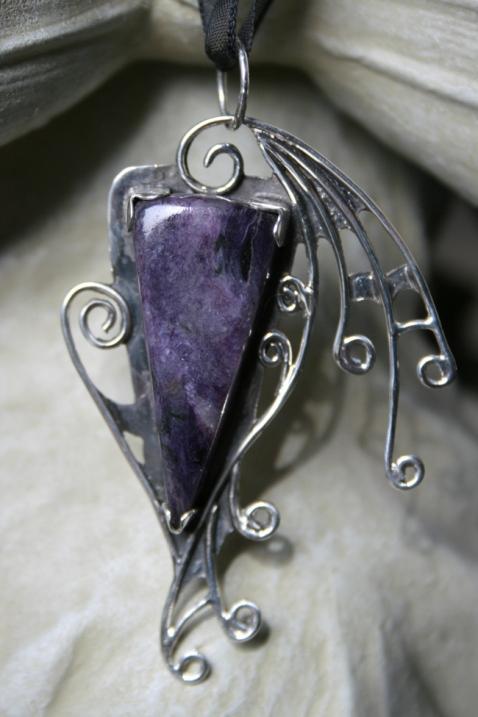 Charoite Spider Fairy Wing Pendant