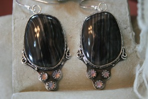Merlinite and Rainbow Moonstone Earring and Pendant Set - Earrings