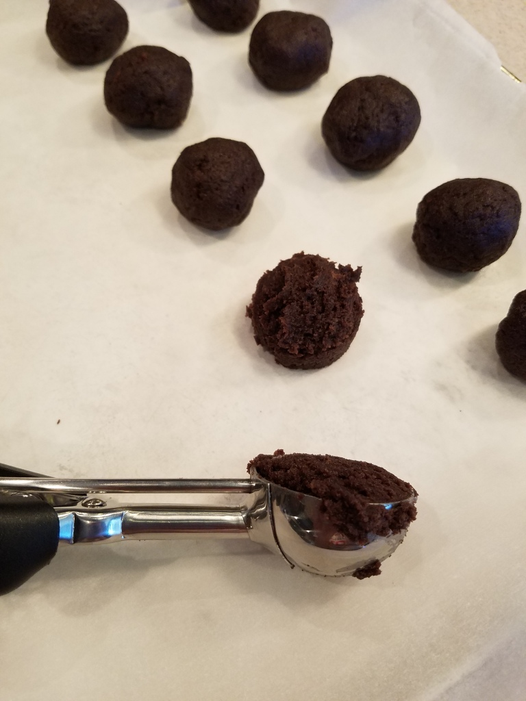 Chocolate Covered Cherry Cake Pops - Forming Balls