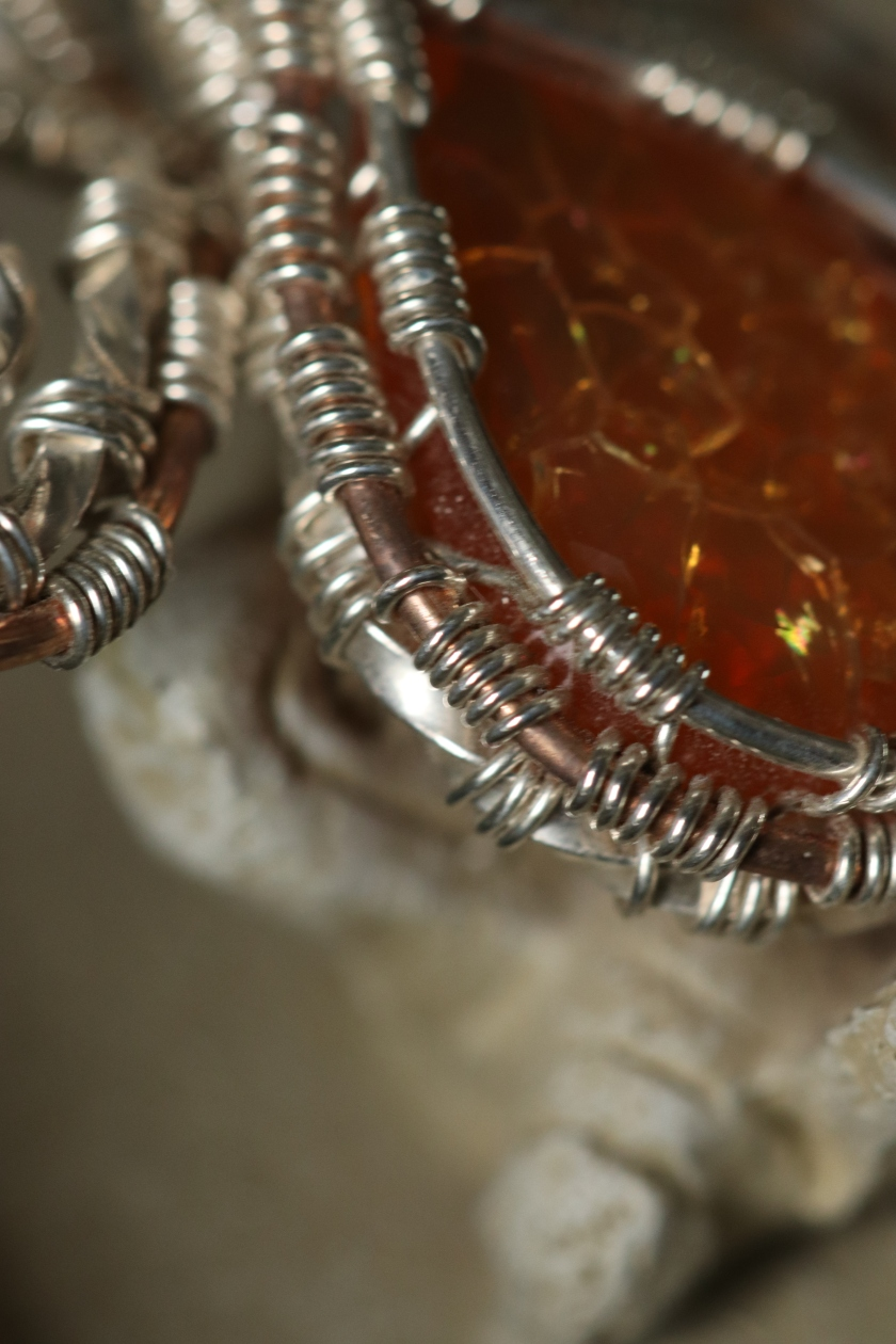 Detail Wire Wrapped Fire Opal Pendant