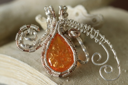 Wire Wrapped Fire Opal Pendant