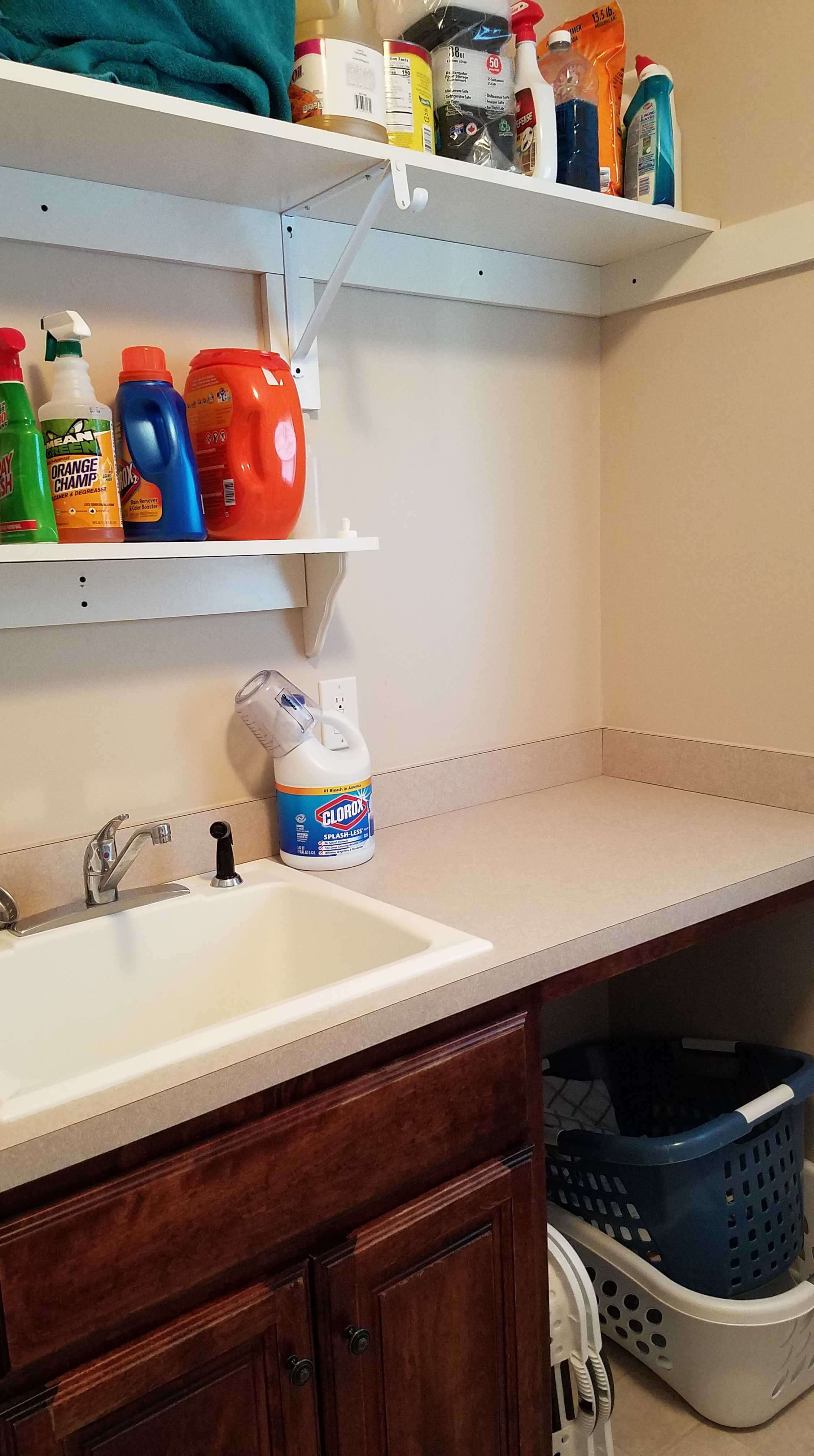Laundry Room Project - After Sink Area With Shelves