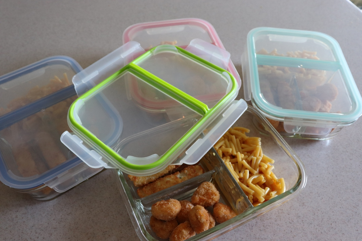 Sectioned Glass Storage Container For Frozen Meals