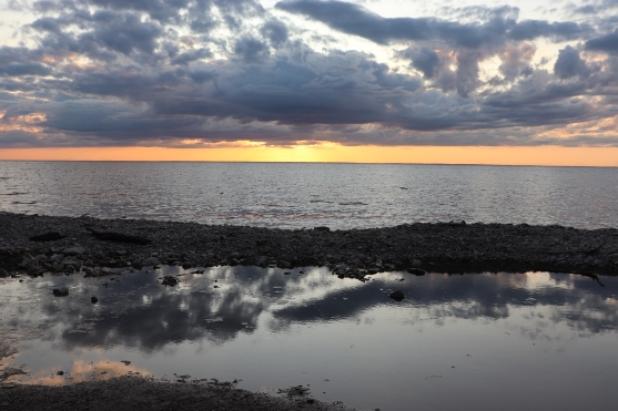 Clouded Sunset on Lake Michigan