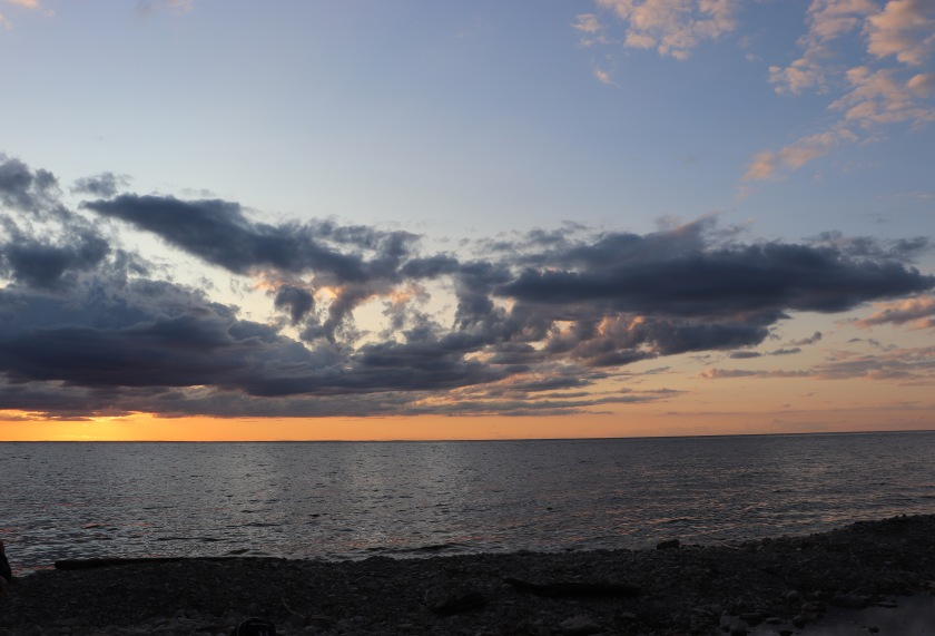 Clouded Sunset Sky on Lake Michigan