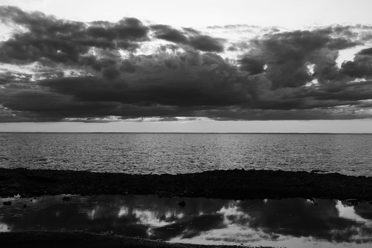 Black And White Cloud Reflections