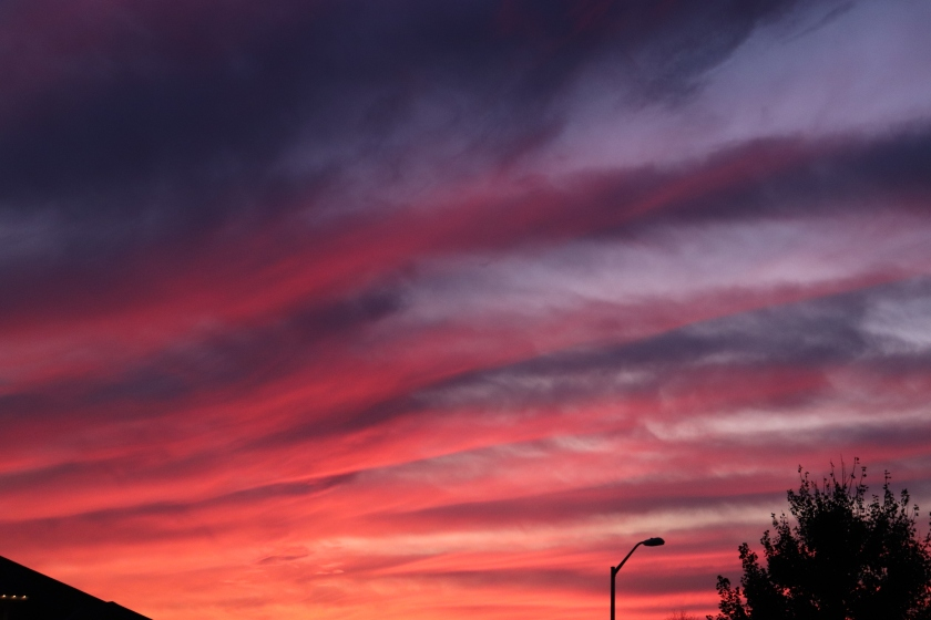 Blue, Red, Pink, and Orange Striped Sunset