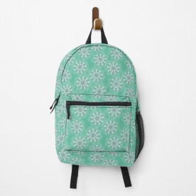 Funky Flowers On Green Backpack
