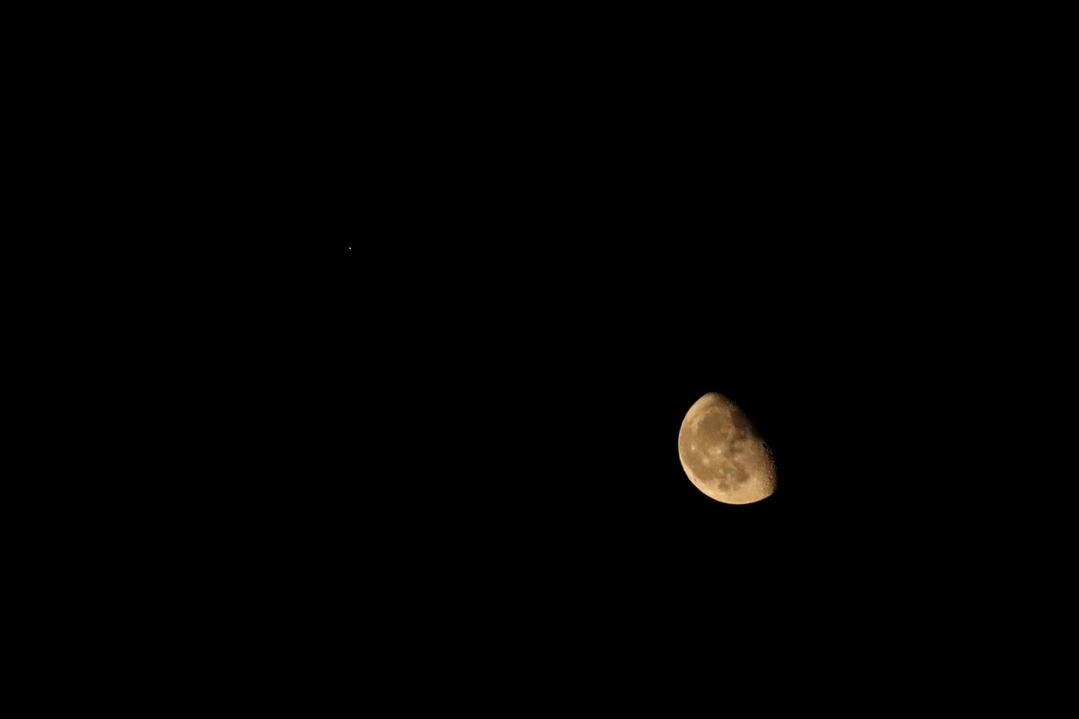 Partial Moon With The Dot of Mars