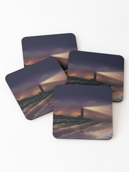 Twilight Lighthouse Coasters