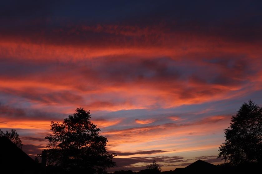 Orangey Pink Clouds At Sunset