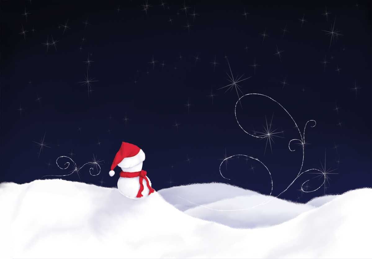 Snowman On A Starry Winter Night: On Redbubble