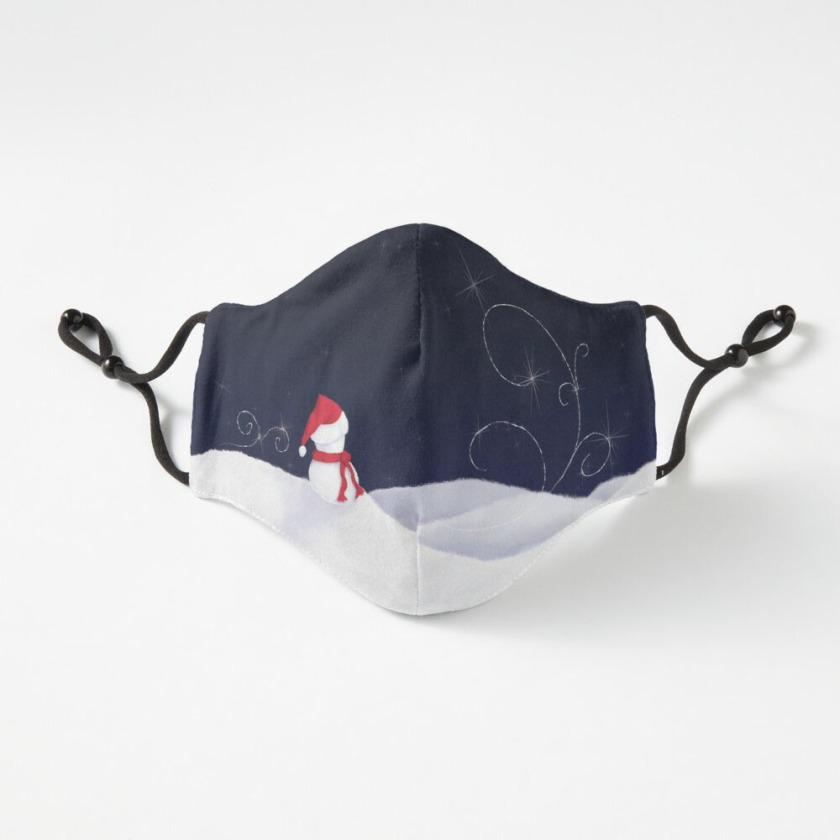 Starry Winter Snowman Fitted Mask