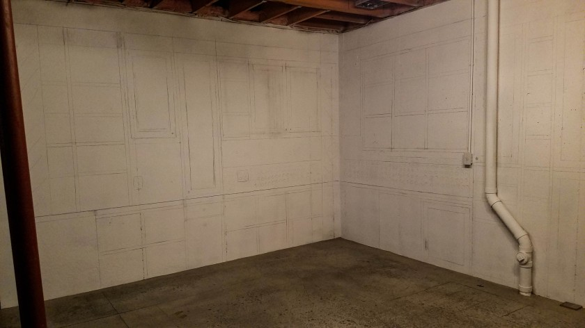 Cabinet Design Drawn Out On Walls