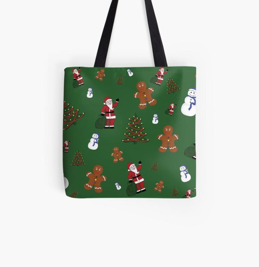 Green Christmas Goodies Tote Bag
