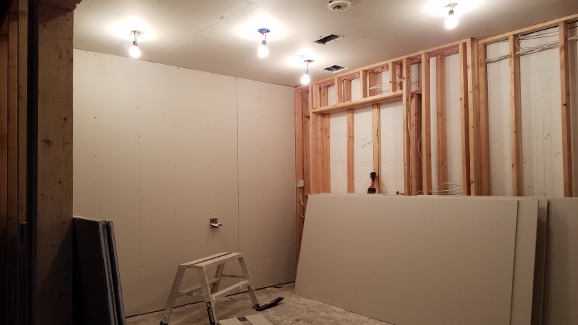 Drywall on Back Wall And Ceiling