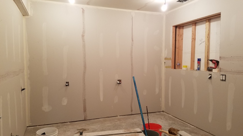 Finished Drywall: Back Wall & Recessed Shelf Space