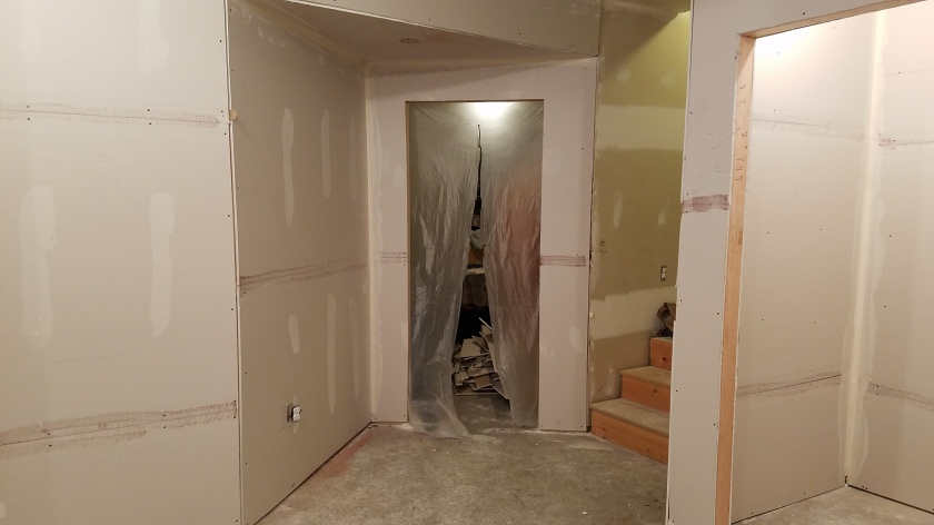 "Finished Drywall: Entrance to ""Cat Room"""